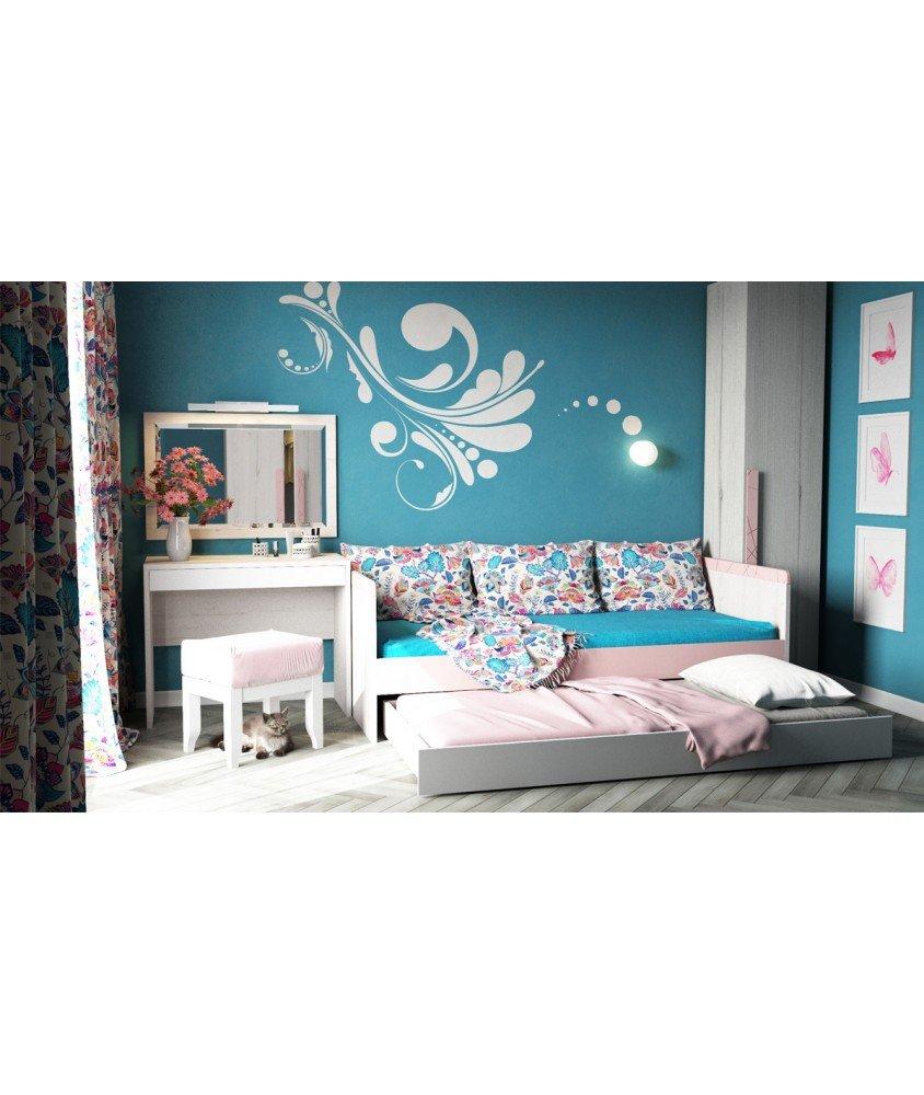 НЬЮ ТОН - Кровать (90*190) с дополнительным спальным местом розовая