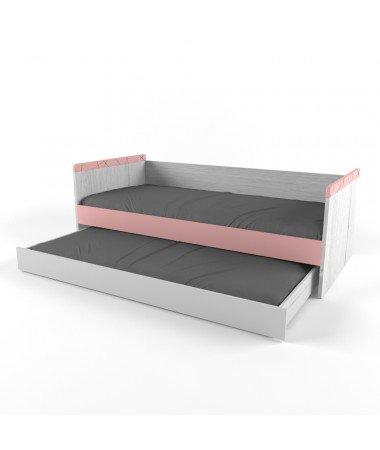 НЬЮ ТОН - Кровать малая (90*170) с дополнительным спальным местом розовая
